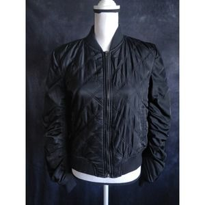 The Story Black Quilted Full Zip Bomber Jacket L
